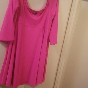 Torrid 2 off shoulder mini skater dress hot pink